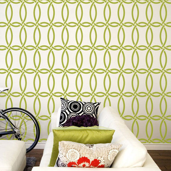Trendy Wall Decor using Modern Chain Link Stencils - Designer Stencils by Royal Design Studio