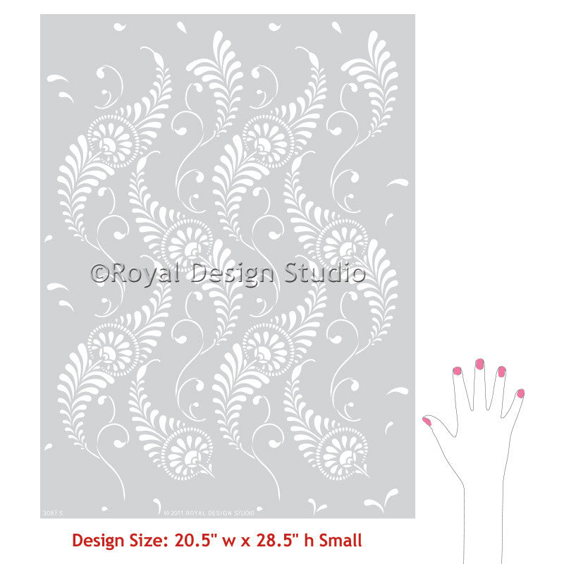 Feathered Damask Wall Stencil