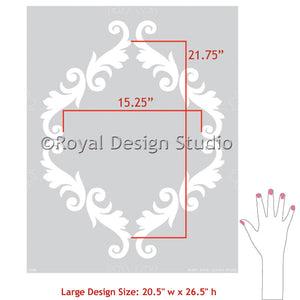 Acanthus Trellis Wall Stencils - Wall Painting Stencils with Damask Wallpaper Pattern - Royal Design Studio