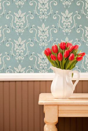 Classic and Victorian  Design - Serenity Damask Wallpaper Wall Stencils - Royal Design Studio