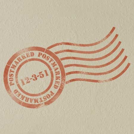 Vintage Mail Letter Postmark Craft and Wall Art Stencils - Royal Design Studio