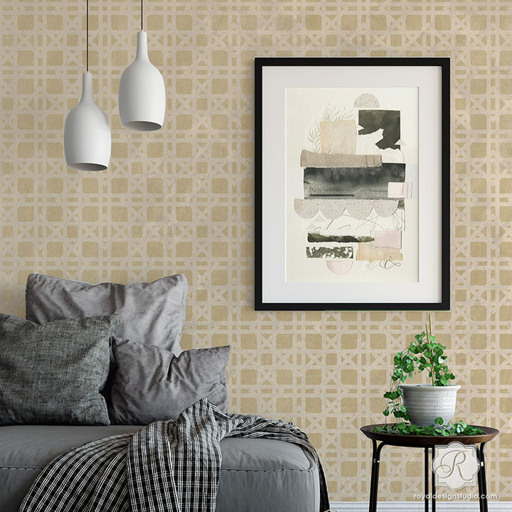 Rattan Wallpaper Bari J Wall Stencil
