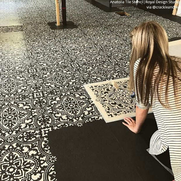 Large Diy Tile Stencils For Painting Walls And Floors Royal Design