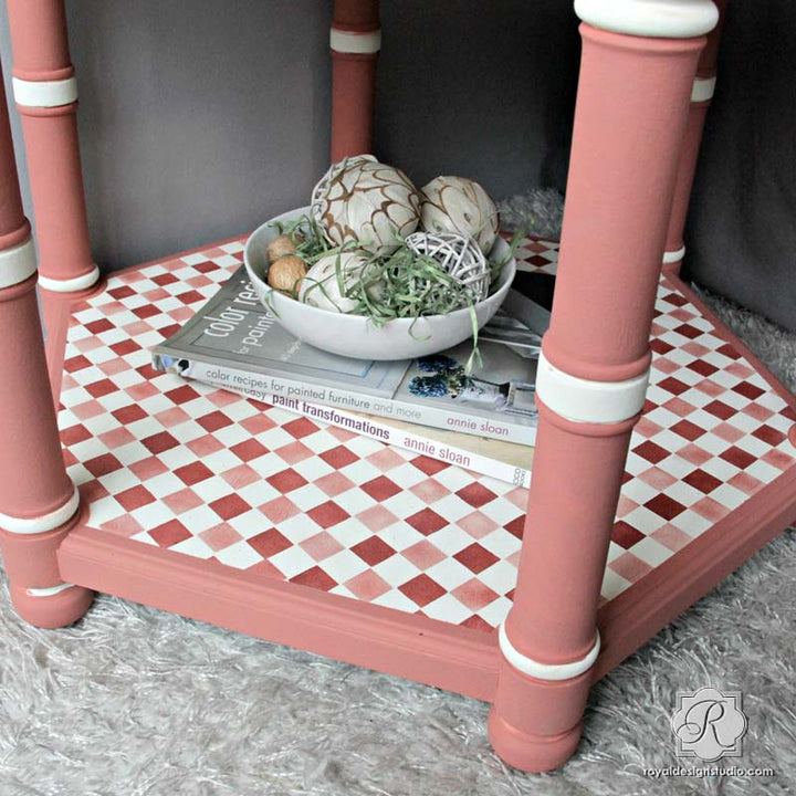 Retro or Modern Checkerboard Pattern - Checks and Gingham Furniture Stencils - Royal Design Studio
