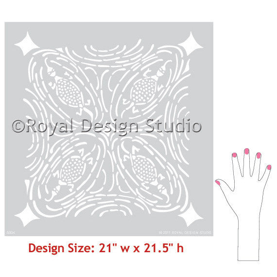Paint your accent wall with tribal designs and Royal Design Studio African Wall Stencils