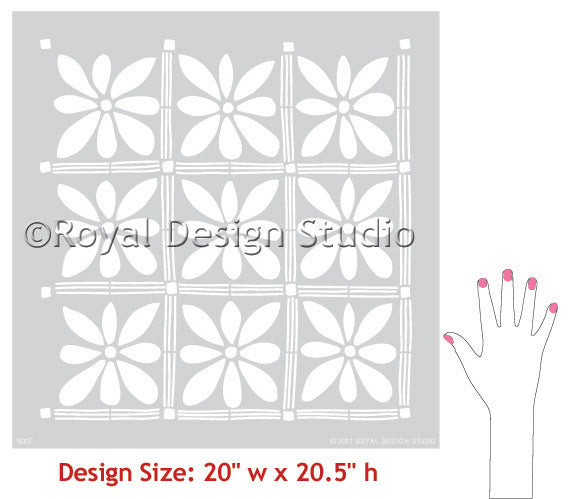 African Flowers Wall Stencils for Large Tribal Flower Patterns on Painted Walls - Royal Design Studio