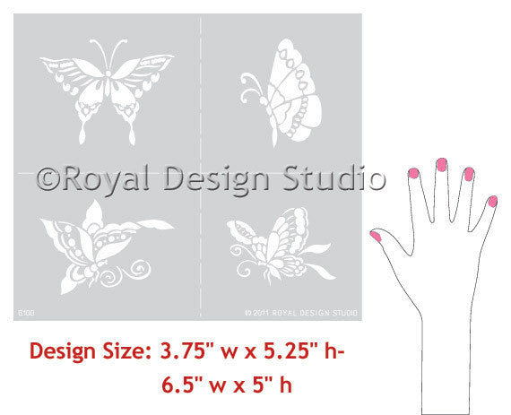 Colorful Wall Art usign Insect Designs - Oriental and Asian Furniture Stencils - Chinoiserie Butterflies Designs for DIY Nursery and Girls Room Decor