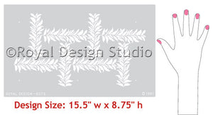 Crossed Garland Stencil Patterns - Geometric Leaves Vines Stencils - Royal Design Studio