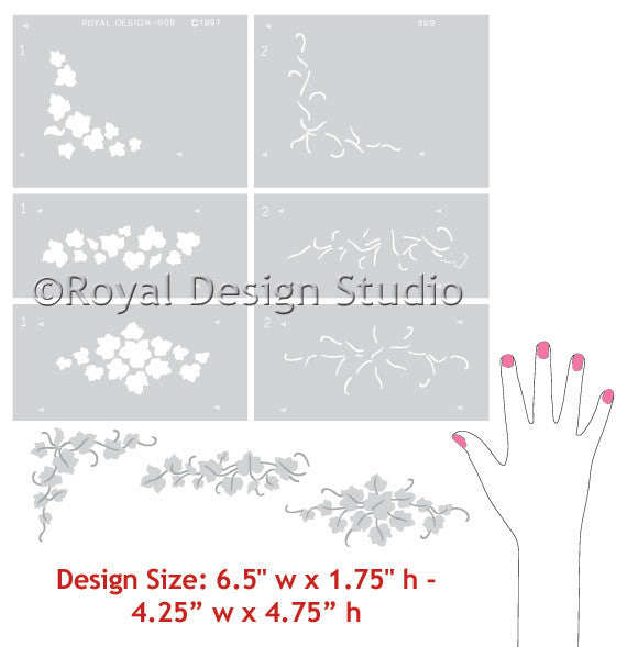 Paint a garland or wreath with ivy leaves stencils for Christmas - Royal Design Studio