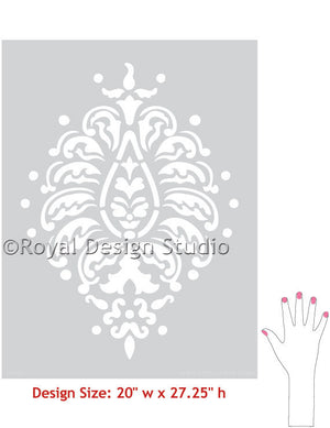Grande Bombay Paisley Indian Designs Wall Motif Stencil