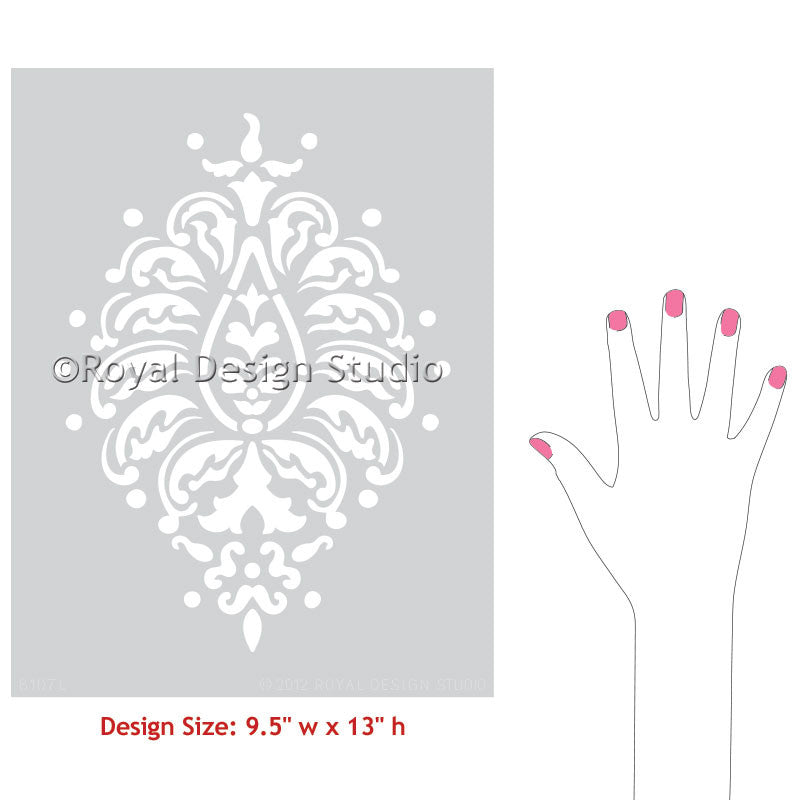 Decorating Home with Exotic Decor - Indian Designs Stenciled on Walls with Paisley Wall Art Stencils - Royal Design Studio
