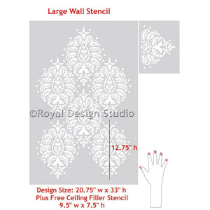 DIY Home Decor - Indian Paisley Wall Stencils - Royal Design Studio