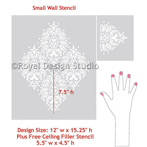 wall and furniture stencil in paisley pattern - Royal Design Studio