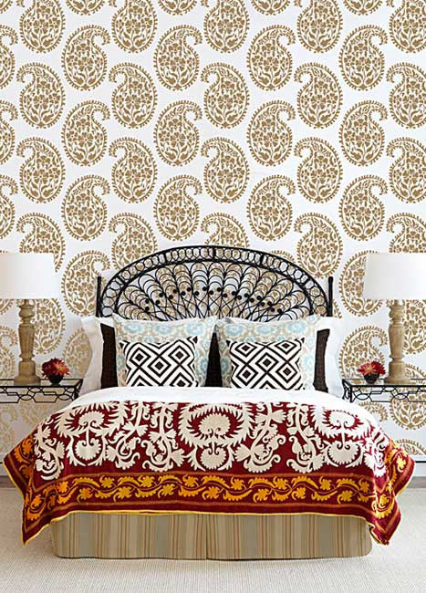 Wall Stencils Indian Paisley Damask Stencils