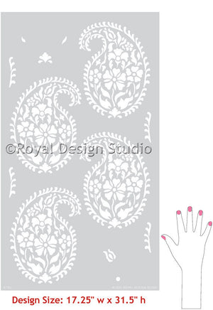 Painted and Stenciled Indian Paisley Designs on Walls