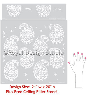 Indian Print Pattern Wall Stencils for Painting