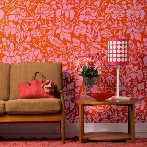 Flowers And Bird Damask Wall Stencils For Painting Elegant Floral Decor