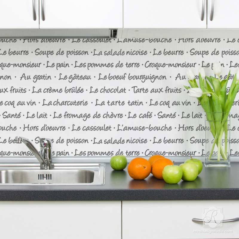 Beau Royal Design Au #11: French Food Lettering Stencil For Walls And Furniture - Royal Design Studio  Wall Stencils For Kitchen ...