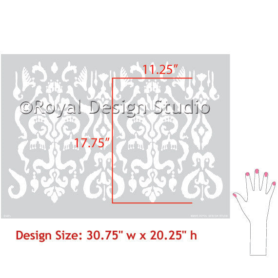 Turkish, Indian, Oriental, Indonesian Designs - Classic and Exotic Ikat Wall Stencils for Stenciling Accent Wall - Royal Design Studio
