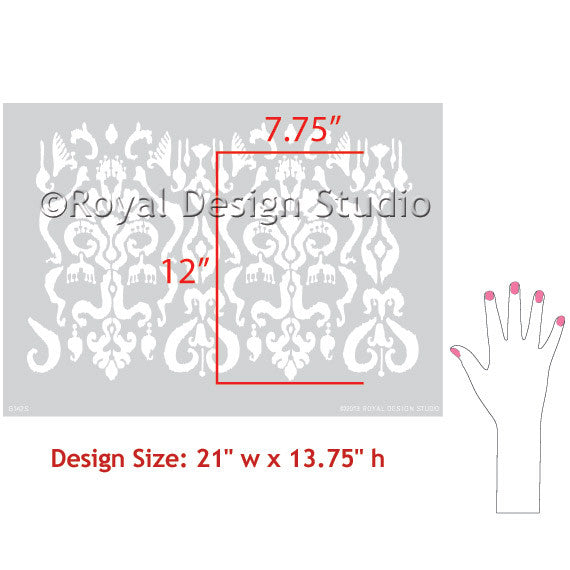 Classic Ikat Pattern Wall Stencils for Fall, Thanksgiving, or Autumn Home Decor
