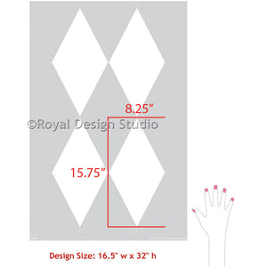 Classic and Retro Harlequin Pattern for Geometric Wall Stenciling - Royal Design Studio