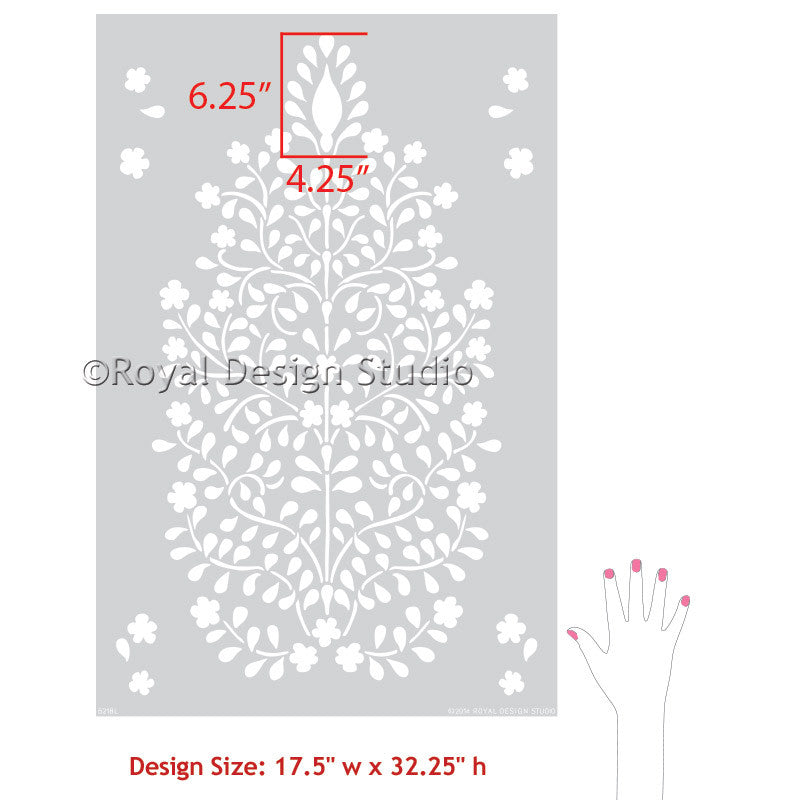 Decorating stylish wall decor with stencils - Persian Flower Garden Allover Damask Wall Stencil - Royal Design Studio
