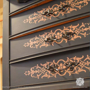 Decorating DIY Projects with Painted Pattern - Micah Panel Furniture Stencils - Royal Design Studio