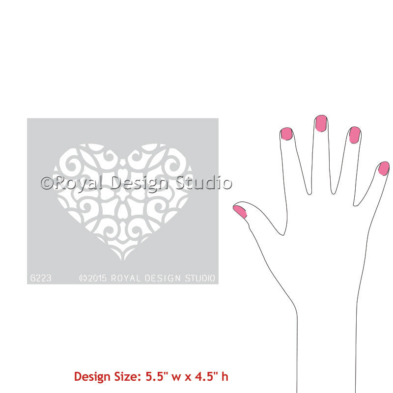 Royal Design Studio craft wall stencils - romantic girly lace heart design