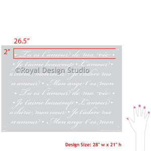 French Love Letters Wall Stencils - Royal Design Studio