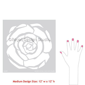 Art Deco Wall Art and painting with Flower Stencils for Girls Room Decor