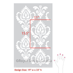 DIY Painting with Anika Ikat Damask Wall Stencils - Royal Design Studio