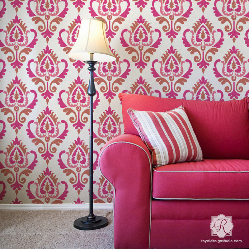 Bold Pink Accent Wall using Ikat Stencil Pattern for Painting Walls and Furniture - Royal Design Studio