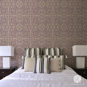 Painted Wall Art with Damask Stencils and Tile Stencils - Royal Design Studio