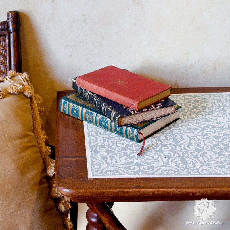 Painted Furniture Projects with Damask Stencils and Tile Stencils - Royal Design Studio