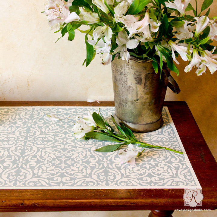Allover Damask Furniture Stencil for Painting - Decorate your Furniture with Tile Stencils from Royal Design Studio