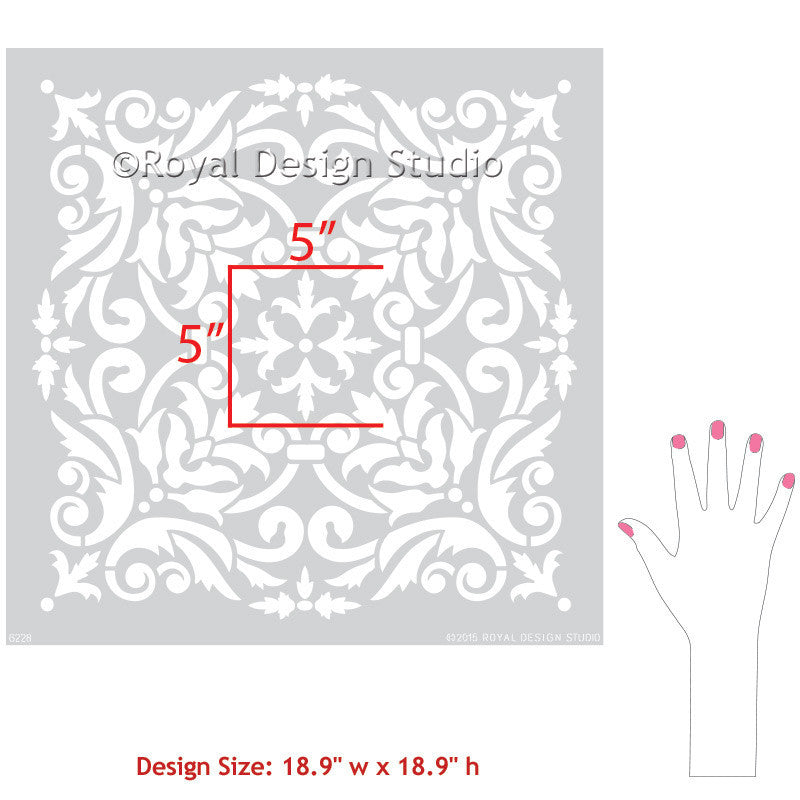 Stenciling Walls for DIY Home Decor and Decorating - Royal Design Studio Tile Stencils and Damask Stencils