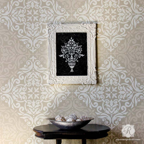 allover damask wall stencil for painting decorate your walls with tile stencils from royal design - Design Stencils For Walls