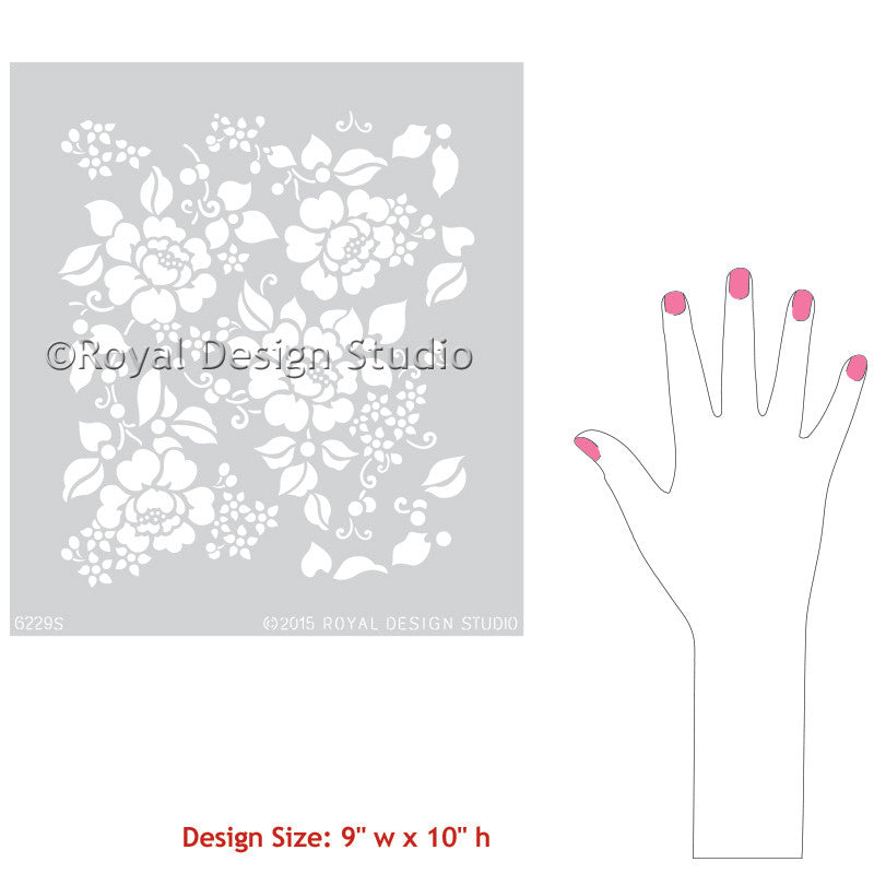 Flower Stencils for Furniture Painting - Romantic and Vintage Rose Stencils - Royal Design Studio