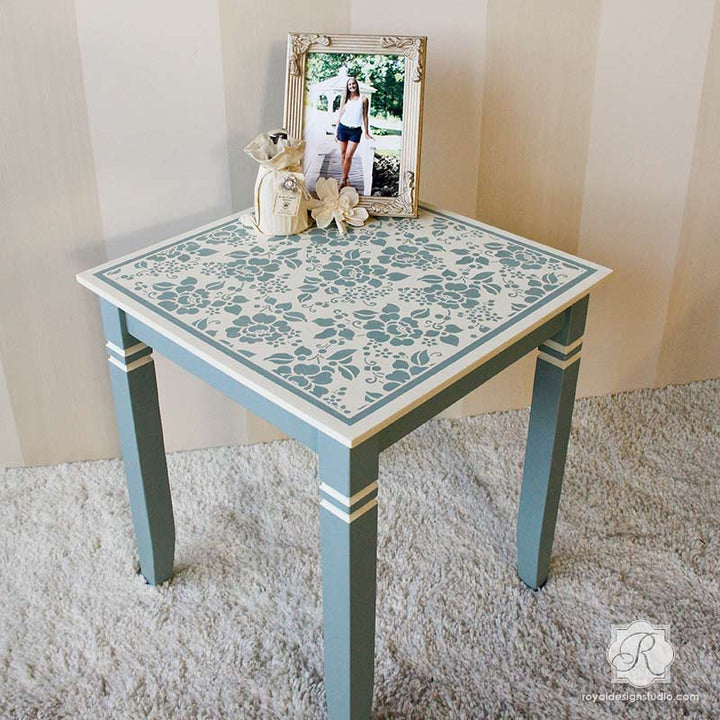 Painted Furniture with Flower Stencils - Spring Rose Blossoms Furniture Stencils - Royal Design Studio