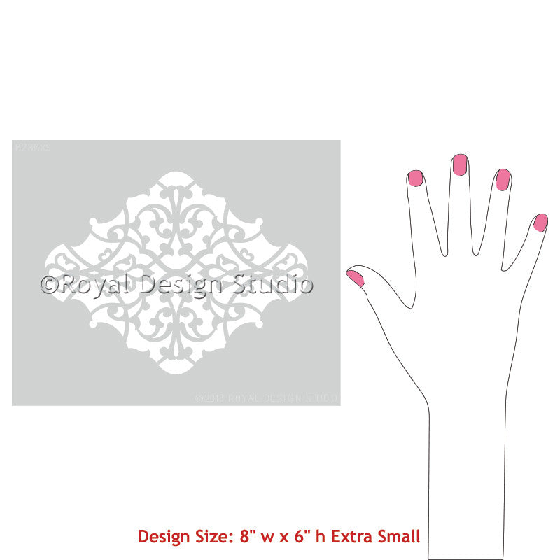 Elegant Patterns to Paint on Pillows, Wall Art, and Placemats - Alhambra Ornament Craft Stencils - Royal Design Studio