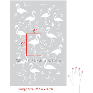 Pink Flamingo Lagoon Wall Stencils for DIY Home Decorating - Royal Design Studio
