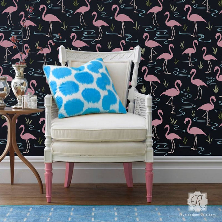 Decorating an Accent Wall in Living Room or Bedroom with Retro or Modern Design - Flamingo Lagoon Wall Stencils - Royal Design Studio