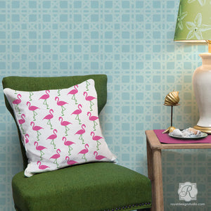 Paint Pillows, Furniture, Crafts, and More with our Flamingo Deco Furniture Stencils - Royal Design Studio