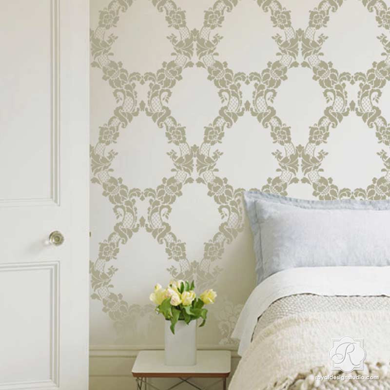 Paint a wallpaper look in your bedroom or living room with our vintage flower stencils - Floral Cascade Damask Wall Stencils - Royal Design Studio