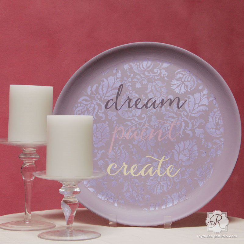 Typography Script Stencils for Painting DIY Decor - Dream Paint Create Lettering Stencils - Royal Design Studio