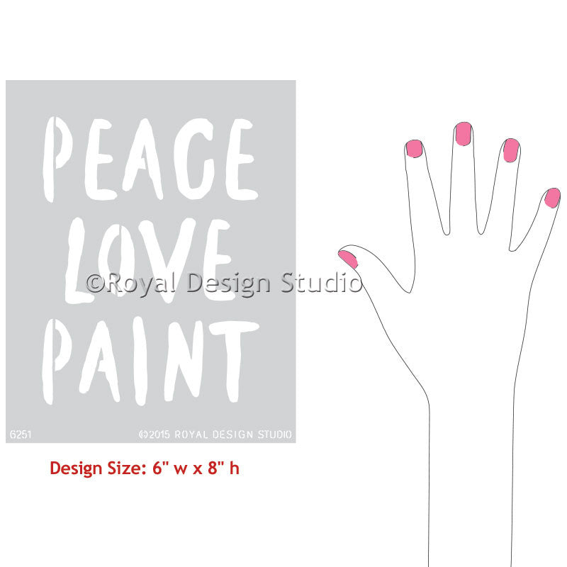 Peace love paint lettering stencils diy wall quotes for Quote stencils for crafts