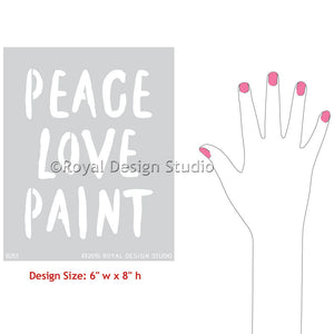 Decorate Walls and Crafts with Script Stenciling Designs - Peace Love Paint Lettering Stencils - Royal Design Studio