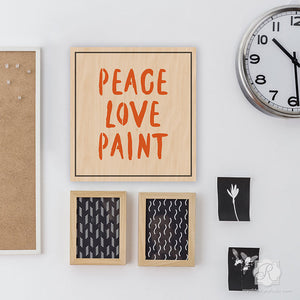 Artistic Wall Art Painted with Typography Letter Stencils - Peace Love Paint Lettering Stencils - Royal Design Studio