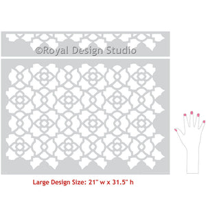 DIY Decorating with Large Designer Stencils - Mamounia Moroccan Trellis Wall Stencils - Royal Design Studio