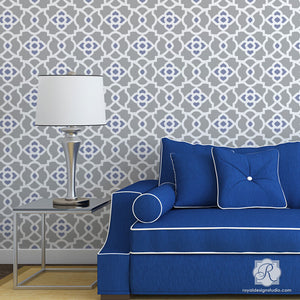 DIY Moroccan Decor and Colorful Patterns - Mamounia Moroccan Trellis Wall Stencils - Royal Design Studio